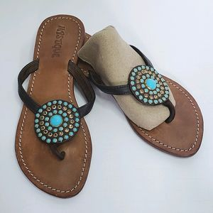 Mystique turquoise crystal gem disk thong sandal 7